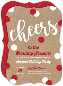 Kraft Cheerful Dots Business Holiday Party Invitation