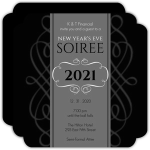 Black and Gray Formal Business Holiday Party Invitations
