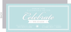 Simple Blue, Gray and White Double Border Holiday Party Invitation