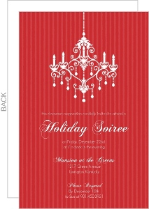 Fancy Red Striped Chandelier Business Holiday Party Invitation