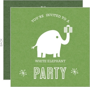 Festive Green and White Business Holiday White Elephant Party Invitations