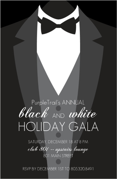 formal black tie corporate holiday party invitations business holiday party invitations. Black Bedroom Furniture Sets. Home Design Ideas
