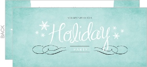 Turquoise Watercolor Snowflake Business Holiday Party Invitation