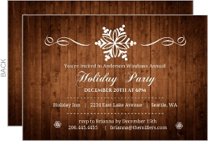 Rustic Wood Grain Snowflake Business Holiday Party Invitation