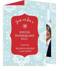 Blue Winter Wonderland Trifold Holiday Party Invitation