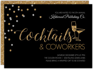 Elegant Sparkling Cocktails Company Holiday Party Invitation