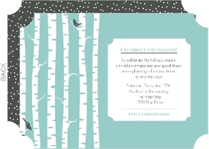 Winter Birch Trees Holiday Business Party Invitation