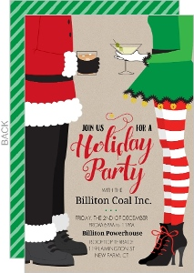 Santa and Elf Cocktail Business Holiday Party Invitation