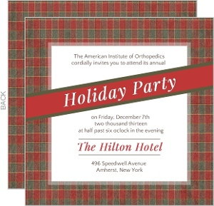 Holiday Green and Red Plaid Pattern Business Holiday Party Invitation