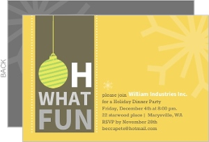 Yellow Oh What Fun Business Holiday Party Invitation