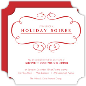 Simple Elegant Red Filigree Business Holiday Party Invitation
