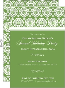 Green Ornate Damask Pattern Business Holiday Invitation