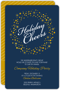 Golden Twinkling Wreath Holiday Cheers Business Holiday Party Invitation