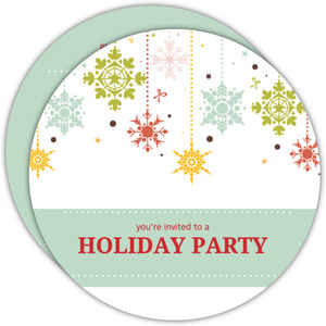 Colorful Snowflakes Holiday Party Invitations