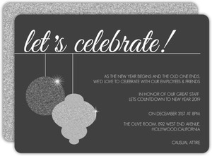 Decorative Silver Ornaments Business Holiday Party Invitation