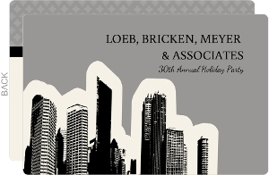 Neutral Gray City Skyline Business Holiday Party Invitation