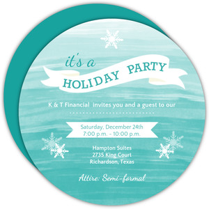 Blue Watercolor Business Holiday Party Invitation