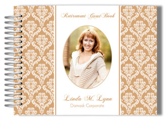 Damask Pattern Retirement Guest Book