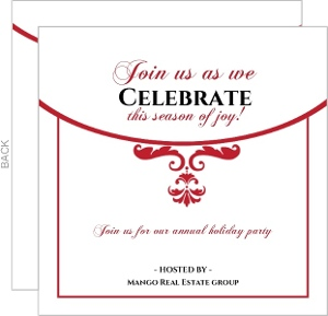 Simple Red and White Elegant Ornamental Deco Business Holiday Party Invitation
