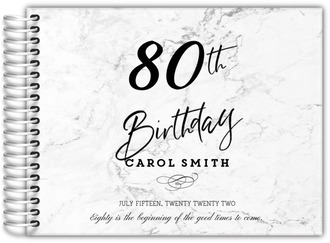 Elegant Marble Gray Birthday Guest Book