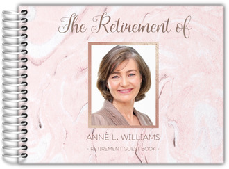 Blush Marble & Faux Rose Gold Retirement Guest Book