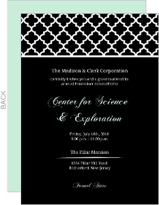 Black And Mint Elegant Pattern Corporate Event Invitation