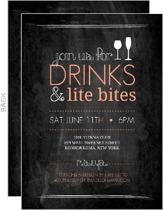Peach Chalkboard Party Invitation