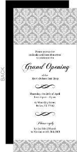 Gray Damask Party Invitation