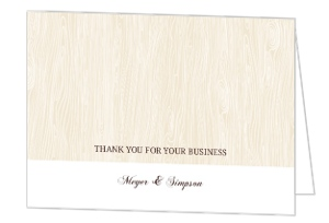 Tan And White Wood Grain Thank You Card