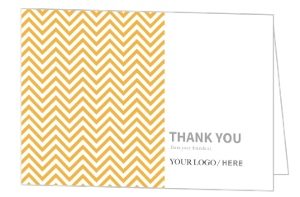 Orange Modern Chevron Business Thank You Card