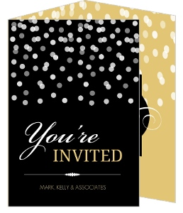 Black And Gold Confetti Corporate Event Invitation