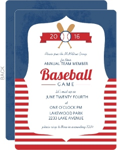 Blue And Red Striped Baseball Corporate Event Invitation