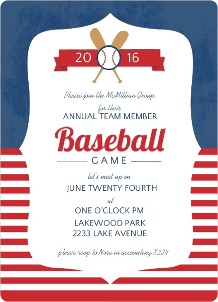Blue And Red Striped Baseball Corporate Event Invitation – Business Event Invitation