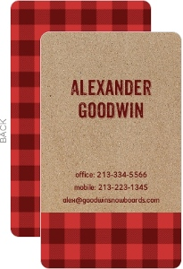 Kraft Red Plaid Business Card