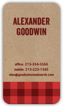 Kraft Red Plaid Business Card