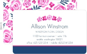 Pink and Navy Watercolor Floral Business Card