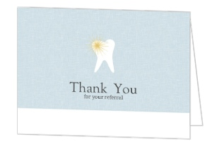 Blue And White Tooth Dental Referral Thank You Card