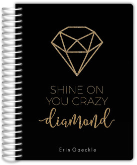 Faux Gold Glitter Diamond Monthly Planner