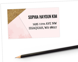 Modern Pink & Faux Gold Glitter Address Label