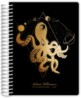 Beautiful Modern Blue Floral Monthly Planner