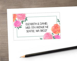 Pink Watercolor Peonies Address Label