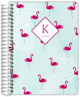 Tropical Watercolor Flamingo Pattern Monthly Planner