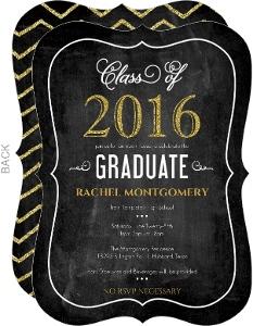Chalkboard Glitter Celebrations Graduation Invitation