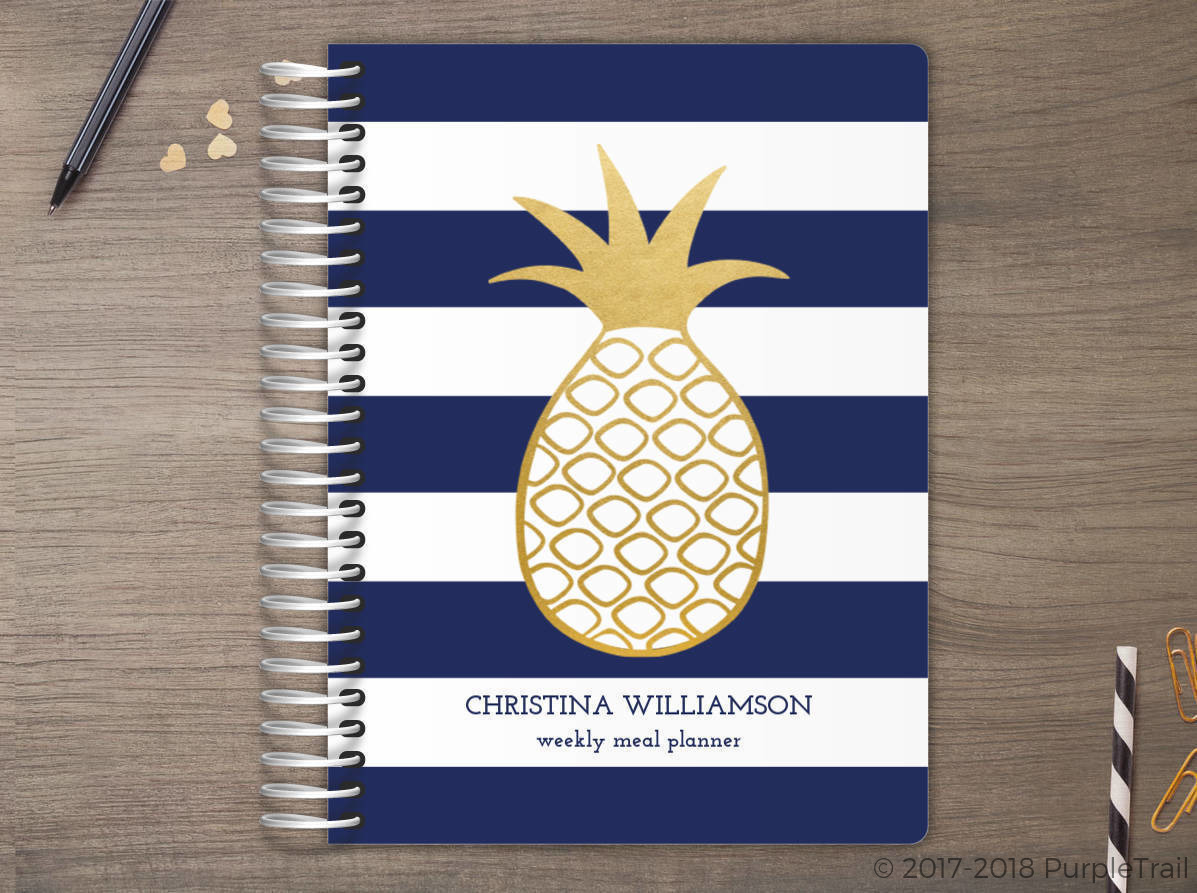 Faux Gold Pineapple Stripe Meal Planner