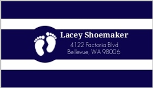 Navy And White Stripes Address Label
