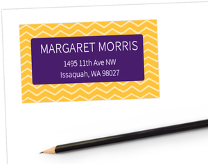 Purple & Yellow Gold Chevron Address Label