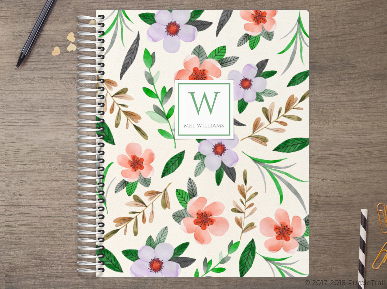 Red Watercolor Floral Meal Planner
