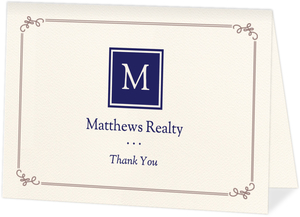 Classic Monogram Business Thank You Card