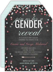 Confetti Celebrations Gender Reveal Baby Shower Invitation