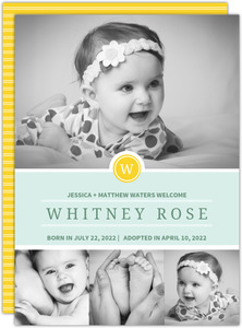 Pastel Yellow Monogram Adoption Announcement